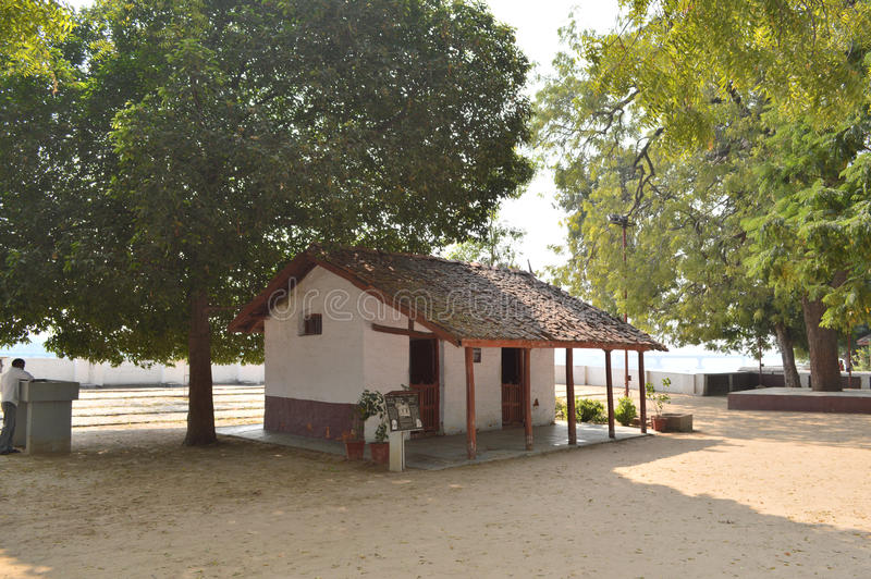 Gandhi Ashram, Ahmedabad. I clicked this photo at Gandhi Ashram, Ahmedabad. Here is kutir where Mina and Vinoba were staying. This kutir/hut is in front of stock image