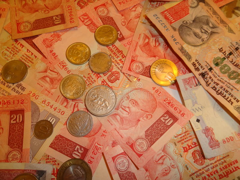 Gandhi i indyjska waluta zdjęcie stock