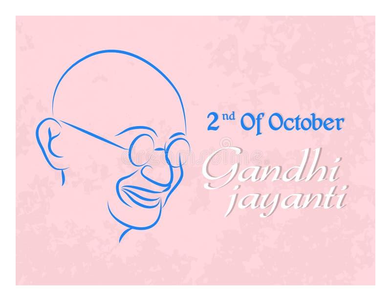 Gandhi Jayanti eller 2nd Oktober eller Mahatma Gandhi vektor illustrationer