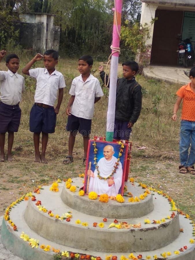 Gandhi jayanti i indisk skola royaltyfria foton