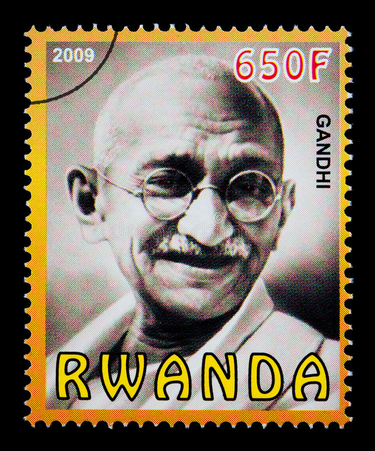gandhi karamchand mohandas znaczek pocztowy ilustracji
