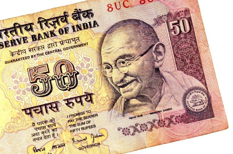 Gandhi på 50 rupier sedel royaltyfria bilder