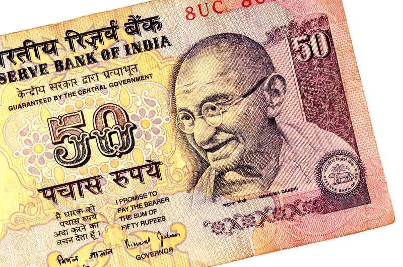 Gandhi on 50 rupees banknote. From India royalty free stock images