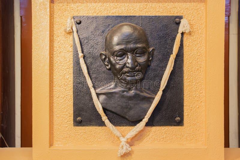 Gandhi ` s wizerunek przy Mani Bhavan Gandhi muzeum obrazy royalty free