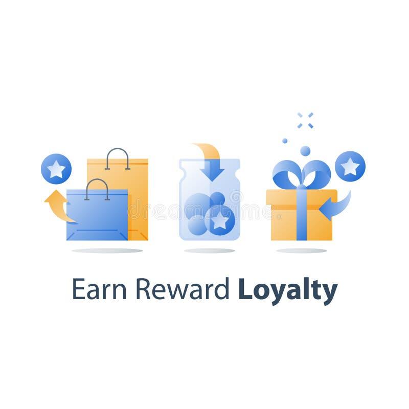 Gane el regalo, puntos de la recompensa, concepto de la lealtad, programa incentivo, redima el regalo, presente la caja, recoja l ilustración del vector