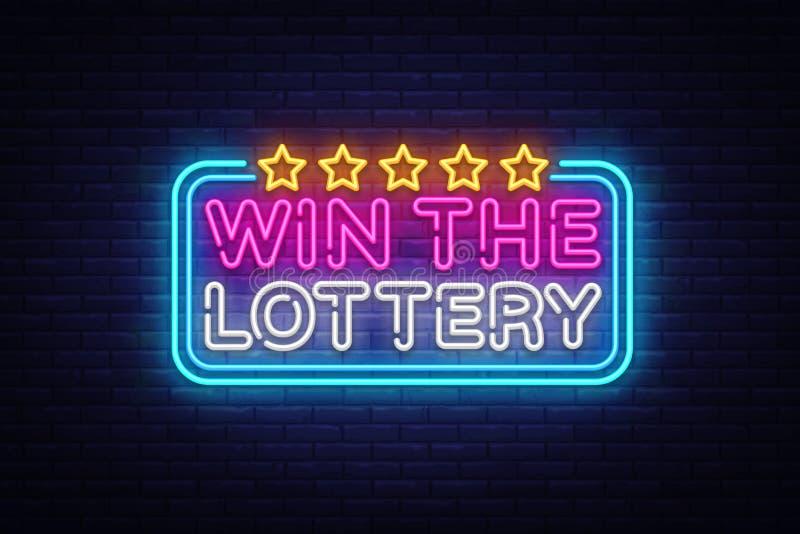 Gane la plantilla de neón del diseño del vector del texto de la lotería Logotipo de neón de los símbolos de la loteria, moderno c ilustración del vector