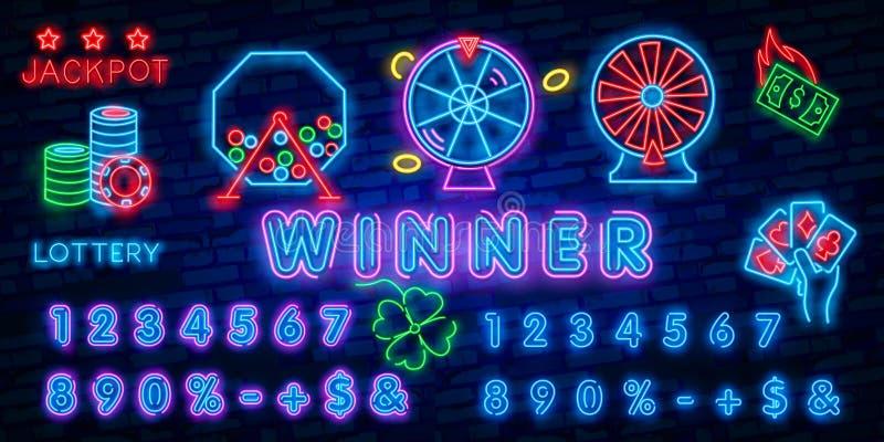 Gane la plantilla de neón del diseño del vector del texto de la lotería Logotipo de neón de los símbolos de la loteria, moderno c stock de ilustración