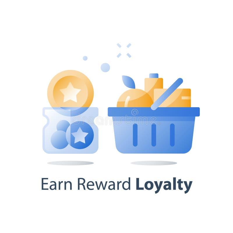Gane los puntos de bonificación, cesta llena del ultramarinos, programa de la lealtad, incentivo del consumo, recoja los símbolos libre illustration