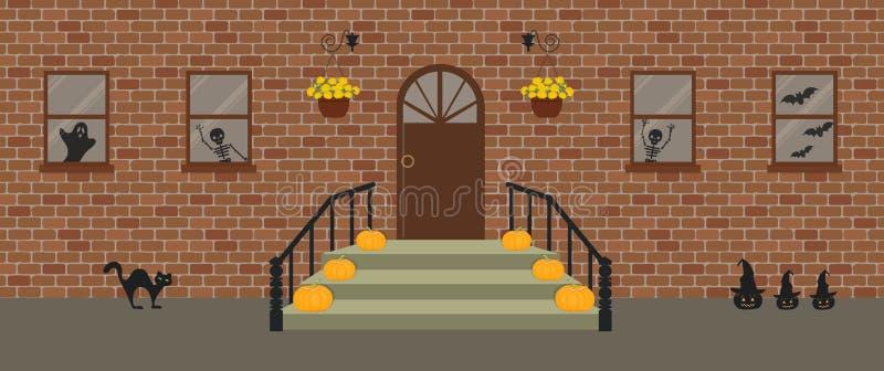 Ganeczek, dekoruj?cy dla Halloween Ganku Frontowego Halloween dekoracje ilustracja wektor