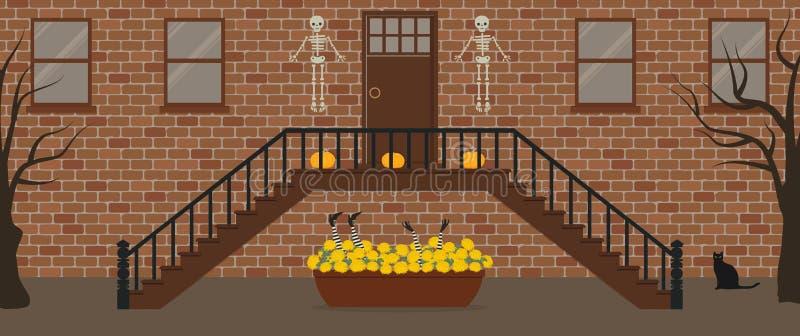 Ganeczek, dekoruj?cy dla Halloween Ganku Frontowego Halloween dekoracje royalty ilustracja