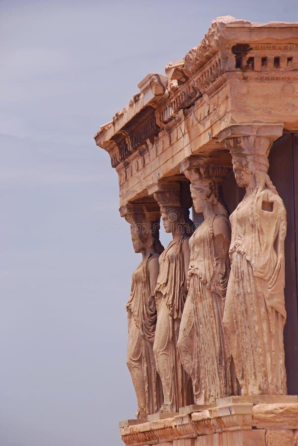 Ganeczek kariatydy przy Erechtheion Ateny Grecja obrazy stock