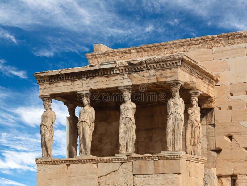 Ganeczek kariatydy przy sławną antyczną Erechtheion Grecką świątynią w Ateny, Grecja fotografia stock
