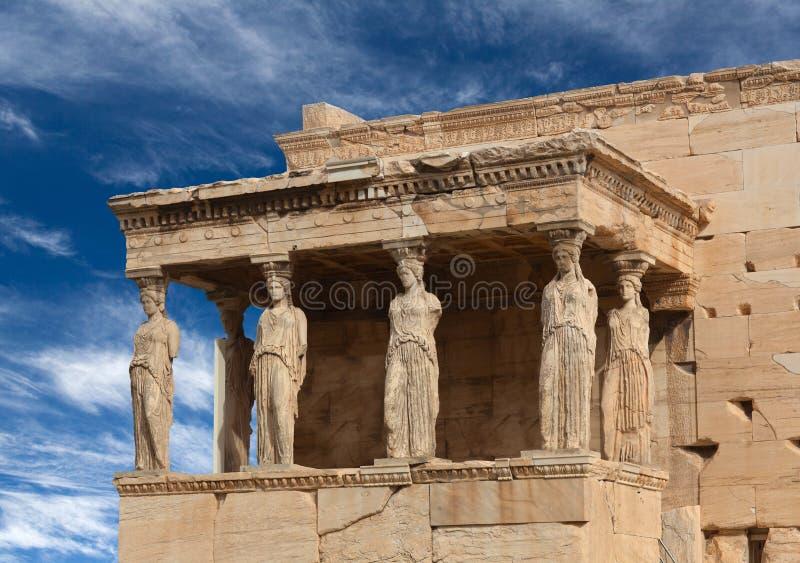 Ganeczek kariatydy przy sławną antyczną Erechtheion Grecką świątynią w Ateny, Grecja fotografia royalty free