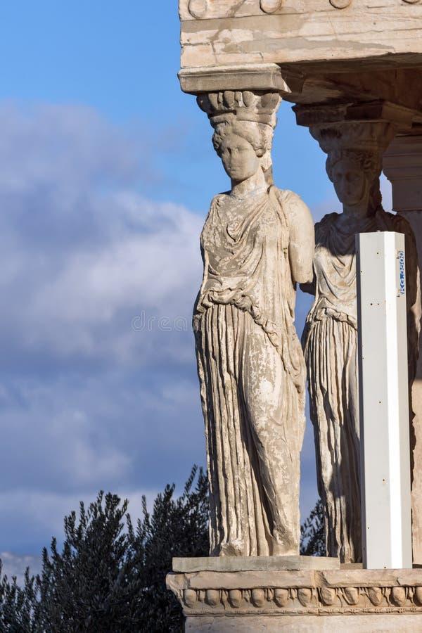 Ganeczek kariatydy w Erechtheion przy akropolem Ateny, Attica, Grecja zdjęcie royalty free