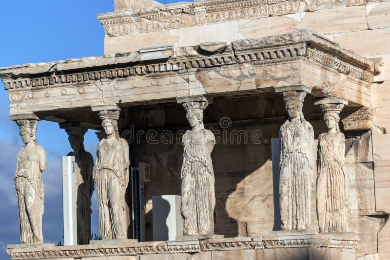 Ganeczek kariatydy w Erechtheion przy akropolem Ateny, Attica, Grecja zdjęcie stock