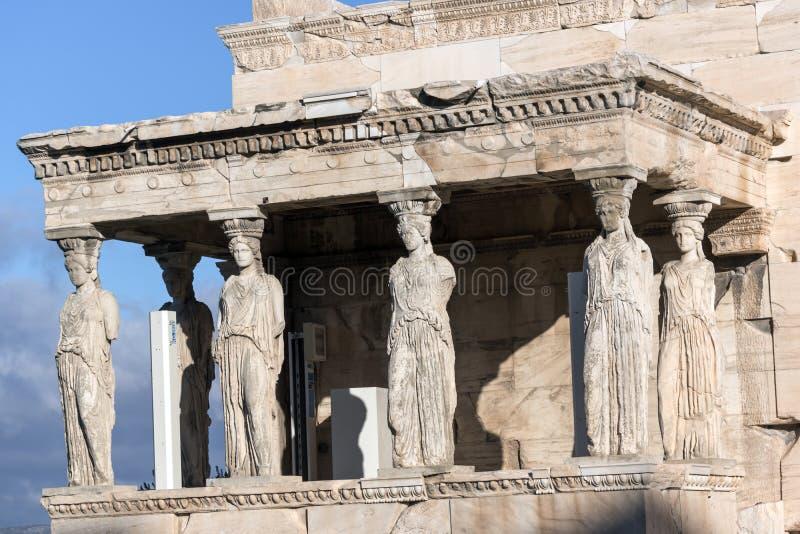 Ganeczek kariatydy w Erechtheion przy akropolem Ateny, Attica, Grecja obraz stock