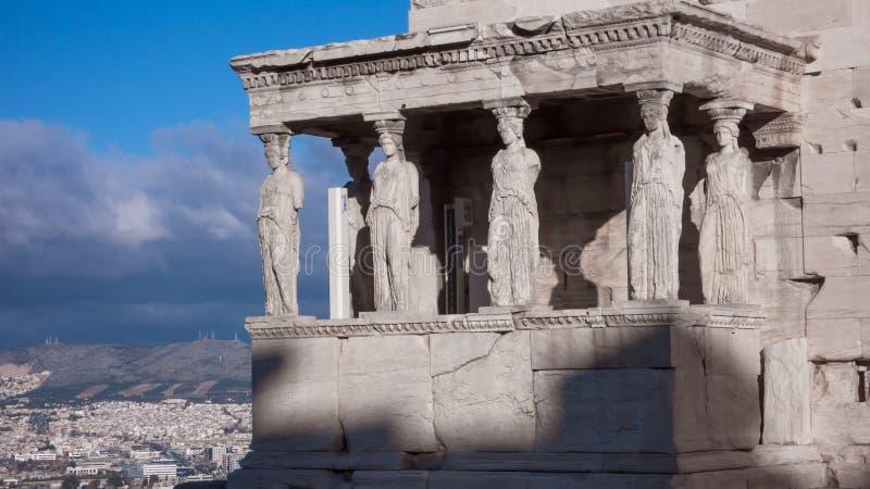 Ganeczek kariatydy w Erechtheion starożytny grek świątynia na północnej stronie akropol Ateny obrazy royalty free