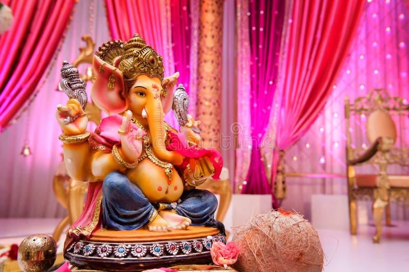 Ganesh的图象在印第安婚礼的 免版税库存照片