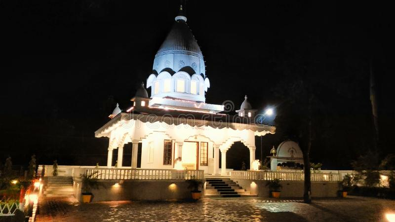 Ganesh temple. Ganesh Akhara temple. Location - Gauripur, Dhubri district, Assam, India. Night view royalty free stock photography