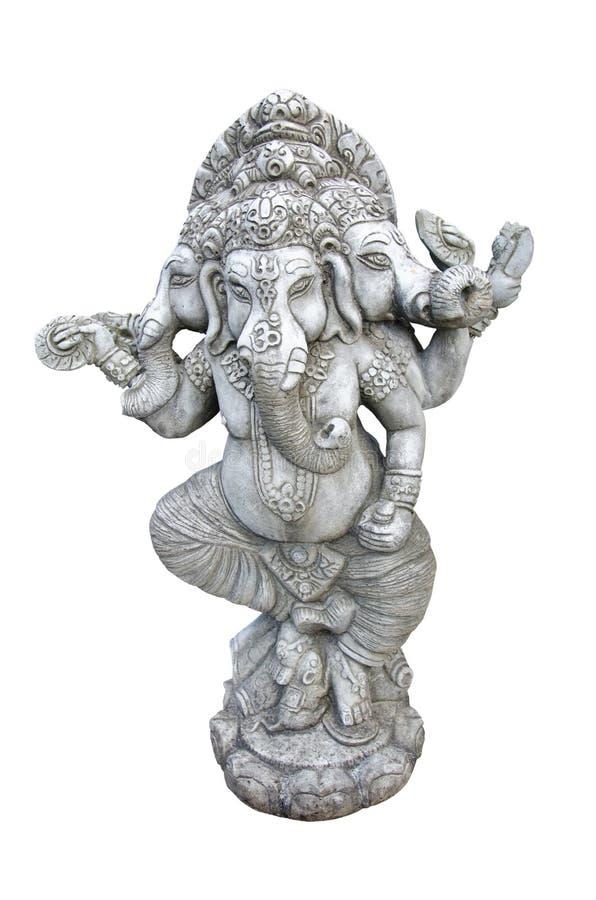 Ganesh carved in granite. On white background stock photo