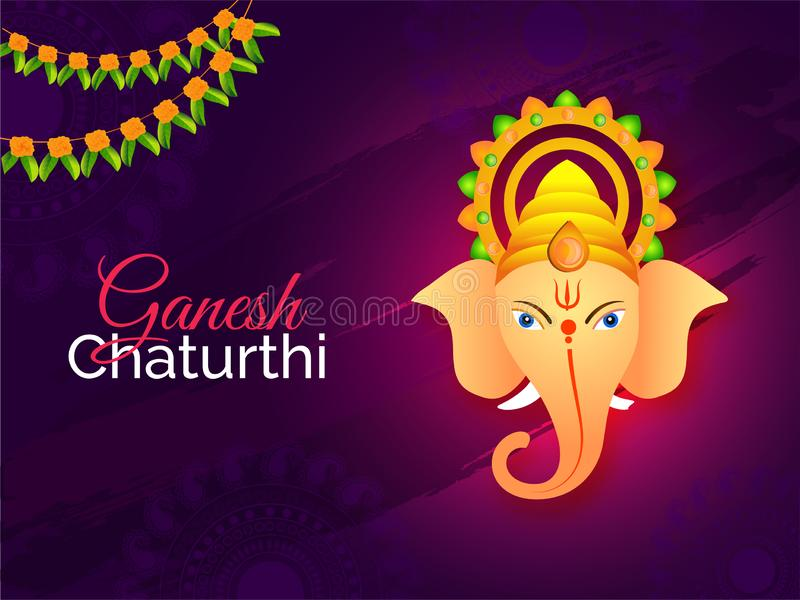 Ganesh Chaturthi festival template or flyer design with Lord Ganesha face on abstract purple background. vector illustration