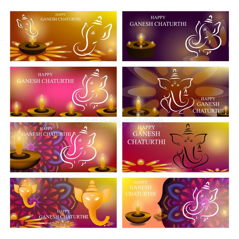 Ganesh Chaturthi vector background design with Ganesha line art illustration vector illustration