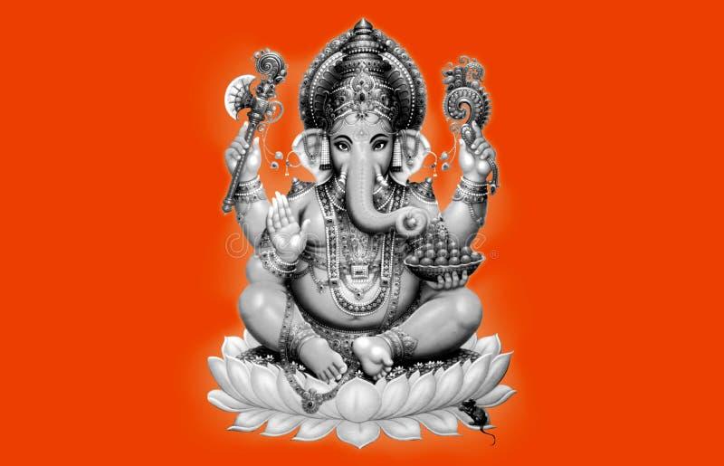 Ganesh czarny i biały na pomarańczowym tle royalty ilustracja