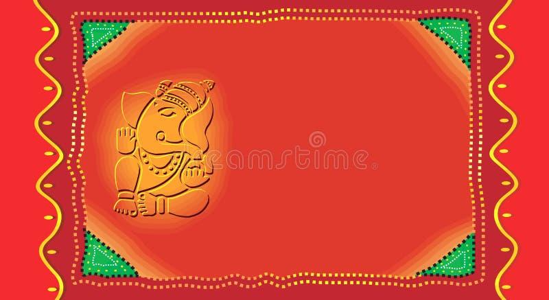Ganesh en Invitación-tarjeta ilustración del vector