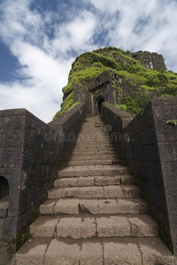 The Ganesh gate at   Lohagad Fort near Lonavala,Maharashtra,India. The Ganesh gate at Lohagad Fort near Lonavala,Maharashtra,India,Asia royalty free stock photography