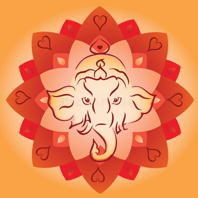 Ganesh Head sur Lotus Mandala Background illustration de vecteur