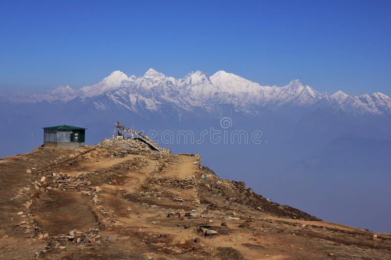 Ganesh Himal pasmo górskie widzieć od Laurebina, Nepal Fogy spr zdjęcie stock