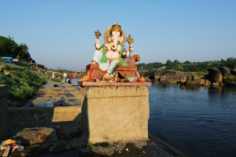 Ganesh Himal przy Tungabhadra rzeką, Hampi zdjęcia royalty free