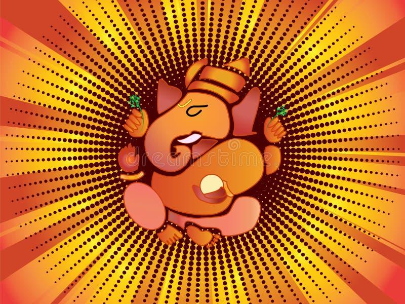 Ganesh hindú de dios ilustración del vector