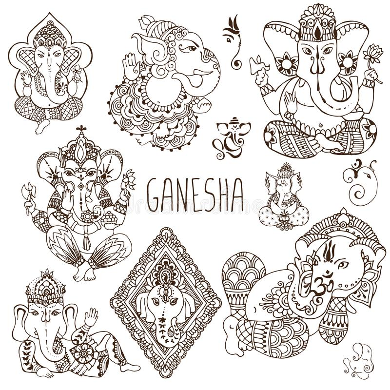 Ganesh i mehendistilen stock illustrationer