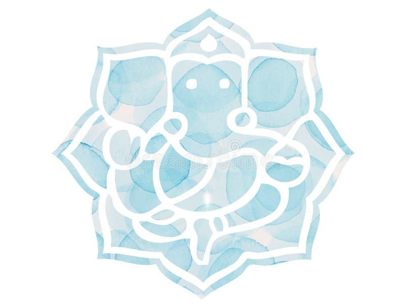 Ganesh Lotus Mandela bleu illustration libre de droits