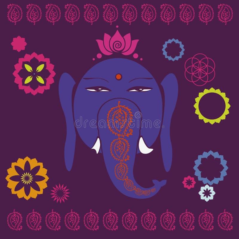 Ganesh med lotuses semestrar trycket vektor illustrationer
