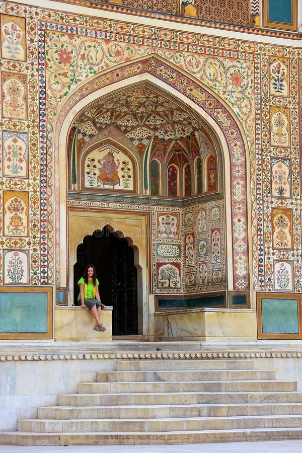 Ganesh Pol en Amber Fort cerca de Jaipur, Rajasthán, la India imagen de archivo