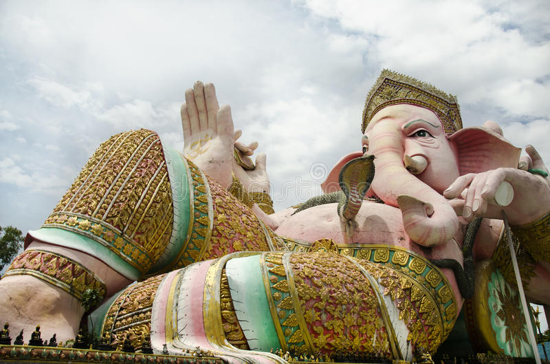 Ganesh statue pink color thai called Phra Pikanet at outdoor for people visit and respect praying at Lord Ganesha Park. On May 9, 2017 in Nakhon Nayok, Thailand royalty free stock images