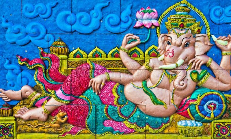 ganesh statuy ściana zdjęcia royalty free