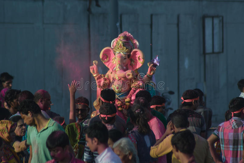 Ganesh Utsav/Festival: India. Ganpati utsav is one of the largest celebrated festival after Diwali. Idol Ganpati beloved to be God of prosperity is invited bring royalty free stock images