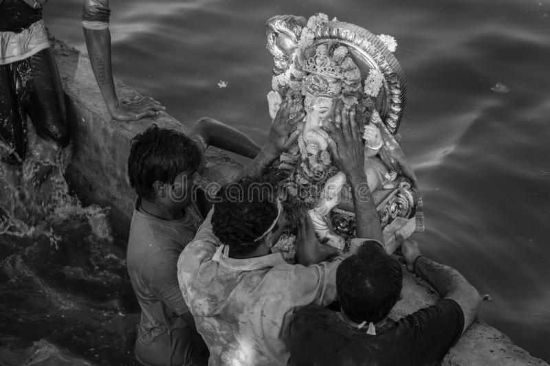Ganesh Utsav. Ganpati utsav is one of the largest celebrated festival after Diwali. Idol Ganpati beloved to be God of prosperity is invited bring home for royalty free stock images