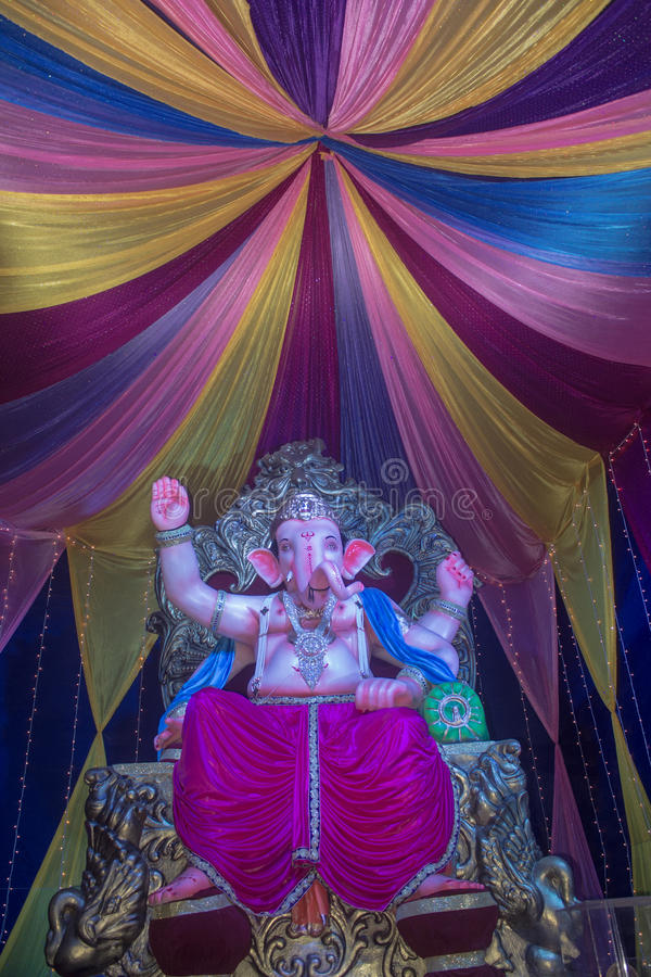 Ganesh Utsav. Ganpati utsav is one of the largest celebrated festival after Diwali. Idol Ganpati beloved to be God of prosperity is invited bring home for stock image