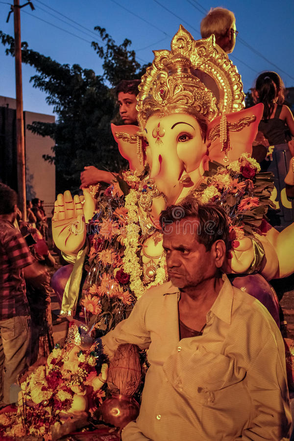 Ganesh Utsav. Ganpati utsav is one of the largest celebrated festival after Diwali. Idol Ganpati beloved to be God of prosperity is invited bring home for stock photos