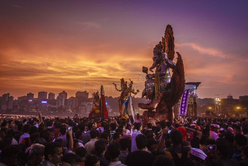 Ganesh Visarjan在孟买 库存图片