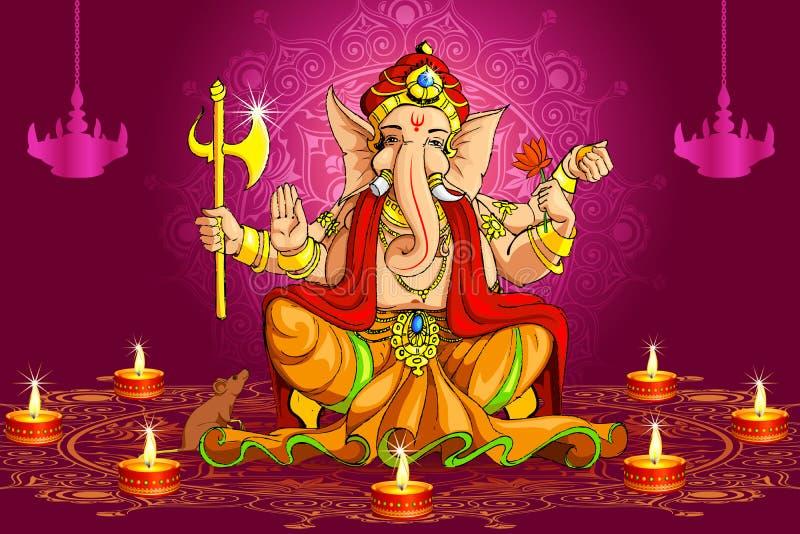 Ganesh y Deepawali ilustración del vector