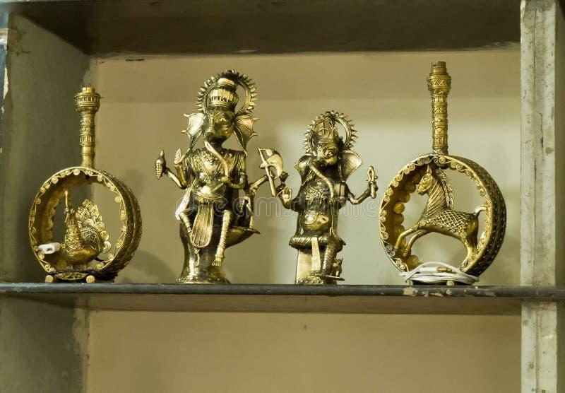 Ganesha印度的美好的黄铜金属神象 免版税库存照片