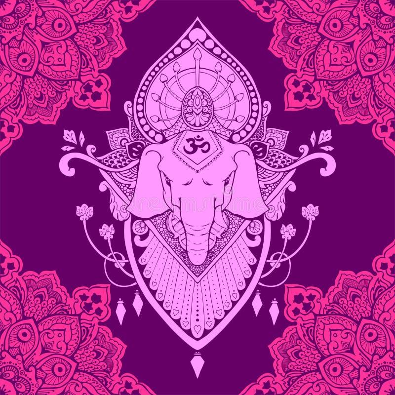 Ganesha坛场东方图画纹身花刺例证无缝的样式 库存例证
