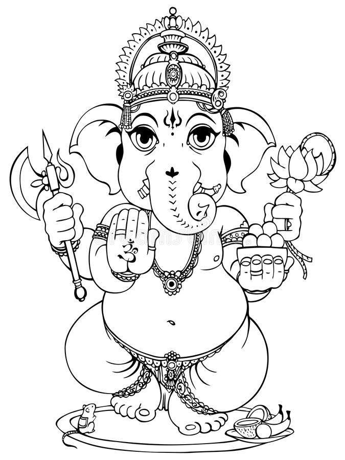 Line Drawing Ganesha : Ganesha stock photos image