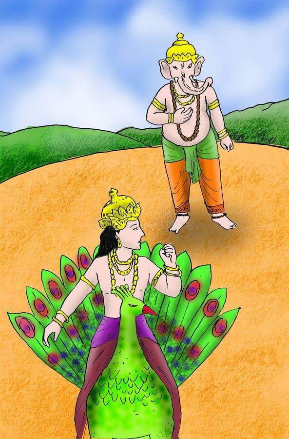 Ganesha avec Kartikeya illustration libre de droits