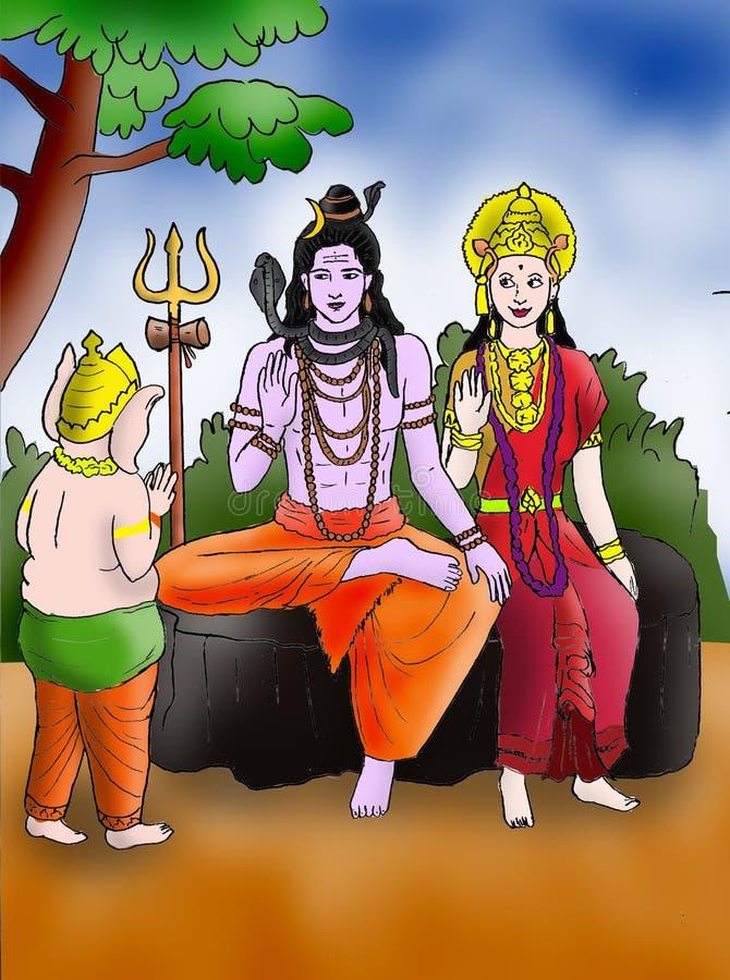Ganesha avec Shiva et Parvati illustration stock